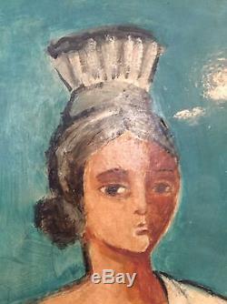 Tableau Ancien Cubiste École De Paris Museable Circa 1950 Portrait Féminin