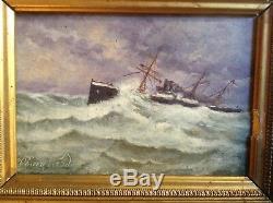 Tableau Ancien Ecole Française XIXe siècle Marine Navire Tempête Huile signée