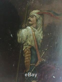Tableau Ancien Ecole Française XIXeme Portrait d'un Porte Lance signé c1896