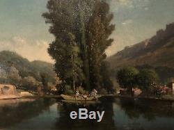 Tableau Ancien, Edouard Isidore Cauvin (1816-1900) Paysage Français XIX Hst