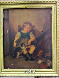 Tableau Ancien / Enfant Au Chat / Peinture A L'huile A Restaurer