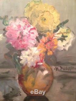 Tableau Ancien Fin XIXe Début XXe Bouquet de Fleurs 19th Huile Sur Carton Signée