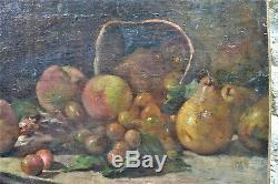 Tableau Ancien Fruits Peches Poires Cerises Trace De Signature Illisible