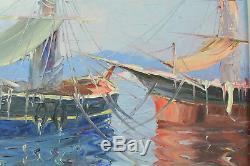 Tableau Ancien Golfe de Saint Tropez Marine Bateaux Tartane Salomon le Tropézien