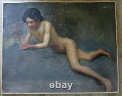 Tableau Ancien Grande étude Portrait Nu Masculin Jeune homme garçon Adolescent