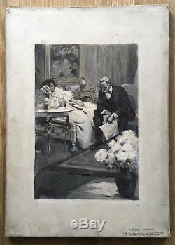 Tableau Ancien Grisaille Scène Couple Intérieur Illustration G. Cazenove 1900