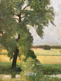 Tableau Ancien HST Barbizon Paysage campagne impressionisme XIX monogramme HS