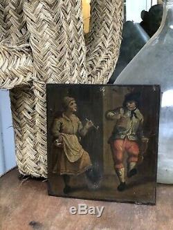 Tableau Ancien Hollandais Huile XVIIe / XVIIIe Paysans Danseurs