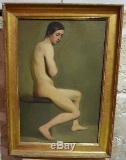 Tableau Ancien Huile Académie Homme Nu masculin XIXe École Française 1840/50
