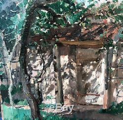 Tableau Ancien Huile Adrien MOREAU (1843-1906) Esquisse Porte Jardin Parc