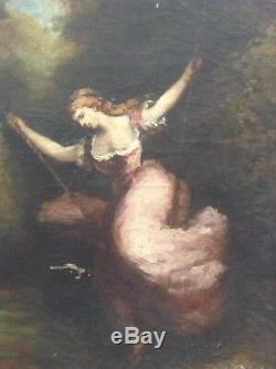 Tableau Ancien Huile Barbizon Jeune Femme à la Balançoire Toile XIXe à restaurer