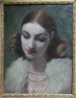 Tableau Ancien Huile Beau Portrait Femme collier perles 40 x 30 cms