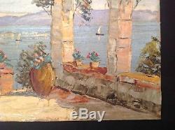 Tableau Ancien Huile Belle Marine signé Louis Jacques Vigon (1897-1986) Antibes