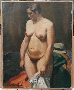 Tableau Ancien Huile CONSTANT LE BRETON Portrait Garçonne Nu Féminin Femme 1930