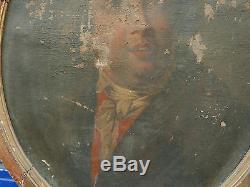 Tableau Ancien Huile Directoire Portrait Homme Fin XVIIIe À RESTAURER Cadre doré