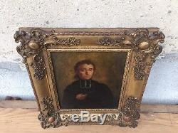 Tableau Ancien Huile Ecole Française Du XIXe Portrait D'homme Superbe Cadre Doré