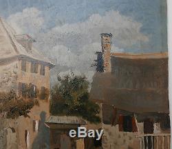 Tableau Ancien Huile Esquisse Paysage Campagne Paysan XIXe Peinture Proche COROT