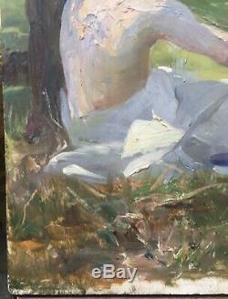 Tableau Ancien Huile Étude Homme Assis Paysage Alice Kaub-Casalonga (1875-1948)