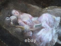 Tableau Ancien Huile Femme Lecture Moment Intime Eugène-Louis Chayllery Cadre