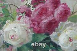 Tableau Ancien Huile Fleurs Stille Life Beau jeté de Roses