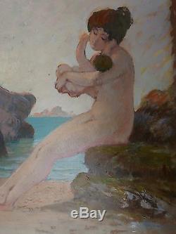 Tableau Ancien Huile GUSTAVE POETZSCH Nu Féminin Rocher Plage Marine Enfant 1910