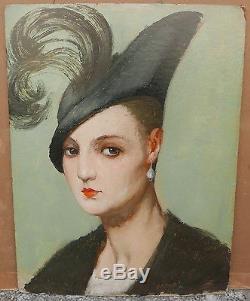 Tableau Ancien Huile GUSTAVE POETZSCH Portrait Élégante Chapeau Plume vers 1900