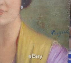 Tableau Ancien Huile GUSTAVE POETZSCH Portrait de Carmen Art Nouveau 1906