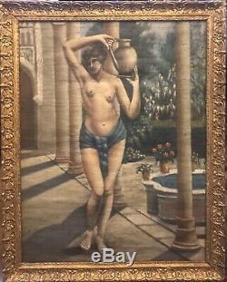 Tableau Ancien Huile HST femme orientale nue XIXème