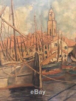 Tableau Ancien Huile HST port St Tropez Signé Mabille Année 50 Marine Bateaux