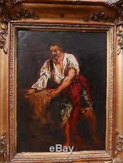 Tableau Ancien Huile Homme Paysan JEAN ADRIEN GUIGNET Annecy Mi XIXe