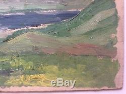 Tableau Ancien Huile Impressionnisme goût Marie ASTOIN Etude Montagne Bleue