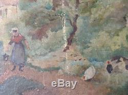 Tableau Ancien Huile Impressionniste Cour de ferme Fermière Poules à restaurer
