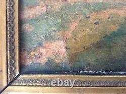 Tableau Ancien Huile Impressionniste Femme assise dans un Parc Signé XIXe Cadre