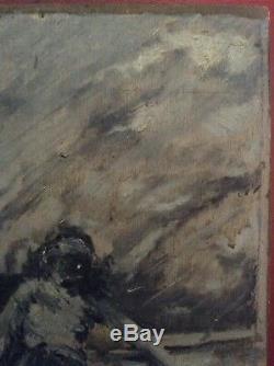 Tableau Ancien Huile Impressionniste Femme au Labeur style Eugène Boudin