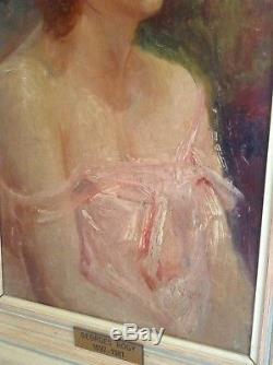 Tableau Ancien Huile Impressionniste Georges ROGY 1897-1981 Portrait Jeune Femme