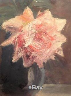 Tableau Ancien Huile Impressionniste Roses dans un vase