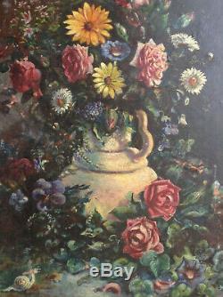 Tableau Ancien Huile Impressionniste Superbe Bouquet de Fleurs A Restaurer c1908