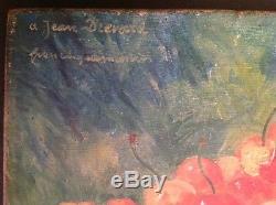 Tableau Ancien Huile Impressionniste signé Francisque MARTIN Les Cerises XIXe
