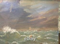Tableau Ancien Huile Impressionniste style COURBET Marine Etude de Vagues