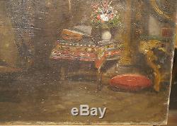 Tableau Ancien Huile Intérieur Appartement Bourgeois Mandoline XIXe c. 1880