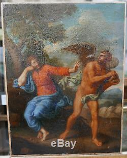 Tableau Ancien Huile Jésus Christ Diable Religieux École française 1650 XVIIe