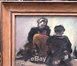 Tableau Ancien Huile LUCIE RIVEL (1910-) Scène trois personnages signé