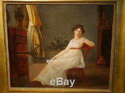 Tableau Ancien Huile La lettre Portrait Femme Nu Voile Directoire 1795 XVIIIe