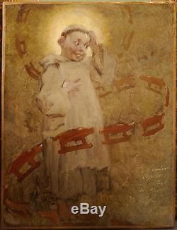 Tableau Ancien Huile Le rêve du petit Moine HENRY GEOFFROY dit Géo XIXe