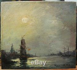 Tableau Ancien Huile Marine BELGIQUE Port ANVERS Bateau 1877 XIXe Monogramme LB