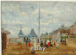 Tableau Ancien Huile Marine Plage NORMANDIE XIXe Monogramme EB Eugène boudin