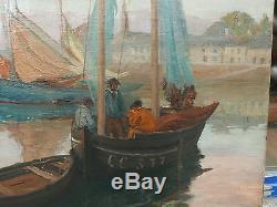 Tableau Ancien Huile Marine Port CONCARNEAU Bateau ALFRED VICTOR FOURNIER 1900