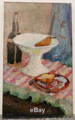 Tableau Ancien Huile Nature morte Nabis Bouteille Fruits JEAN VENITIEN 1940