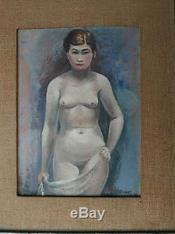 Tableau Ancien Huile Nu Féminin Femme ERIC DETTHOW (1888-1952) Suède 1925
