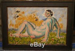 Tableau Ancien Huile Nu Féminin Portrait Femme MARCEL LENOIR 1920 Montauban